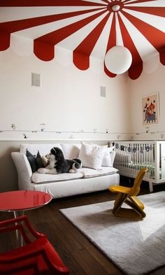 the (Big) Top: Grown-Up Circus Style at Home Circus Inspired Home Decor (for Grownups! Unique Furniture, Kids Furniture, Bedroom Furniture, Furniture Sets, Furniture Design, Style At Home, Airplane Room Decor, Circus Room, Circus Theme