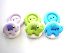 Elephant buttons cute elephant shaped buttons by JustFingerPrint