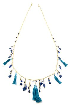 Chan Luu - Lapis and Tassel Layering Necklace, $205.00 (http://www.chanluu.com/necklaces/lapis-and-tassel-layering-necklace/)