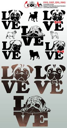 Pug Dog Love Digital Vector Cut Files Svg Dfx Eps Png