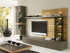 Casale Modern Wall Storage System Real Wood Details/Opt LED Lighting