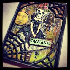 Created for Retro Cafe ART Gallery DT -using Collage Sheet Halloween -paper cut word Beware -Coffee Break durable spider web ATC backing and front