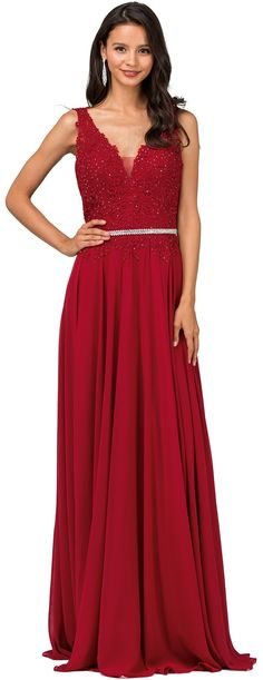 9f645b62348c Prom Party Evening Dresses under $200 by DANCING QUEENaqn2161Illusion  double V-neckline beaded lace bodice with center insert and sheer overlay  floor length ...