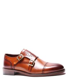 Tobacco-pure-leather-monk-strap-shoes-