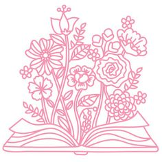 Silhouette Design Store: Open Book With Flowers Open Book Drawing, Confetti Background, Wood Burning Patterns, Clip Art, Simple Flowers, Silhouette Machine, Silhouette Design, Book Silhouette, Cricut Creations