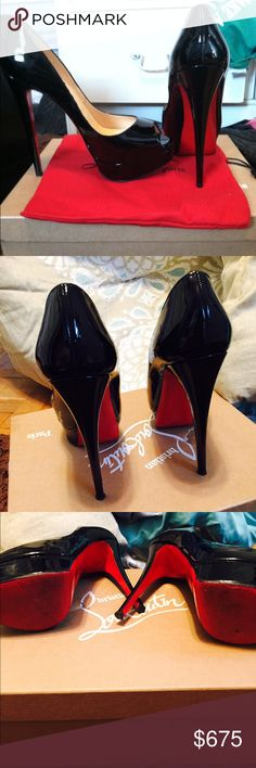 Christian Louboutin Lady Peep christian louboutin black lady peep, had the bottoms sealed for protection gently worn Christian Louboutin Shoes Heels