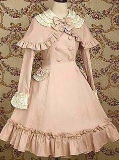 洛丽塔Lolita复古甜美斗篷式双排扣装饰海军领公主学院长袖连衣裙