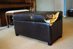 Recovering Furniture {Ottoman to Storage Box} - Reasons To Skip The Housework Leather Storage Bench, Fabric Storage Ottoman, Diy Ottoman, Storage Ottoman Bench, Ottoman Cover, Leather Ottoman, Bench With Storage, Leather Repair, Vinyl Storage