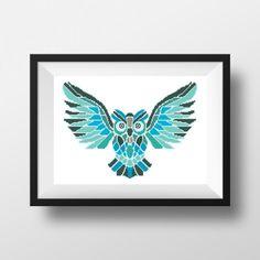 Owl Geometric Cross Stitch PDF Pattern Birds by NikkiPattern