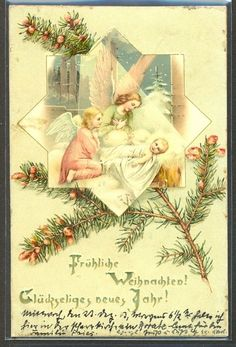 KQ133 NOËL ANGES ANGELOTS SAPIN CUPIDS ANGELS NATIVITY FIR TREE Fine LITHO 1900