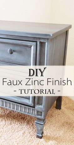 Faux Zinc Finish – Nightstand Makeover – Home Decor Paint Furniture, Furniture Projects, Furniture Making, Furniture Makeover, Home Furniture, Furniture Refinishing, Refurbished Furniture, Do It Yourself Furniture, Furniture Restoration