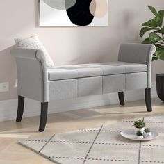 Andesine Upholstered Storage Bedroom Bench In 2019 Storage Tangier Upholstered Bedroom Bench Wayfair Uk To Do Basildon Upholstered Storage Bench New Flat Decor Leather Storage Bench, Storage Bench Seating, Upholstered Storage Bench, Upholstered Ottoman, Bedroom Bench With Storage, Grey Storage Bench, Ottoman Storage, Diy Ottoman, Bench Furniture