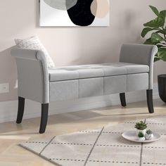 Andesine Upholstered Storage Bedroom Bench Fairmont Park Colour: Silver