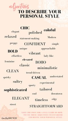 How to find your personal style 10 questions for you to ask yourself adjectives to use to define your style my favorite style quotes Fashion Words, Fashion Quotes, Fashion Designer Quotes, Mode Outfits, Fashion Outfits, Fashion Trends, Fashion 2017, Stil Inspiration, Style Me