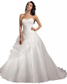 GEORGE BRIDE ELegant Strapless Ball Gown Satin Wedding Dress Size 8 White