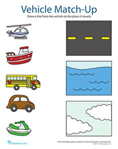 Transportation theme- Kindergarten Sorting & Categorizing Worksheets: Transportation Match Up Worksheet Kindergarten Math Worksheets, Preschool Printables, Preschool Lessons, Preschool Learning, In Kindergarten, Learning Activities, Teaching, Alphabet Worksheets, Free Printables