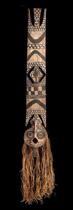 Africa | Mask from the Bwa people of Burkina Faso | Wood, pigment, hemp fibers | Prior to 1830