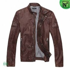 Mens Brown Leather Motorcycle Jacket - m.cwmalls.com