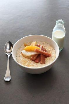 Solid brekky: Porridge with poached fruit or banana, brown sugar and cinnamon.