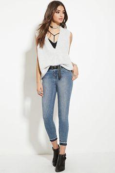 Jeans Skinny Bajo Deshilachado | Forever 21 - 2000181161