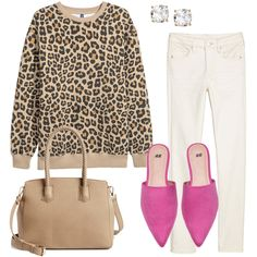 SHOP THE LOOK Leopard Sweatshirt // Earrings // White Jeans Satchel // Pink Mules JavaScript is currently disabled i. Pink Shoes Outfit, Leopard Outfits, How To Wear White Jeans, Grey Jeans, Pink Mules, Fashion Outfits, Womens Fashion, Fashion Trends, Fashion 2017