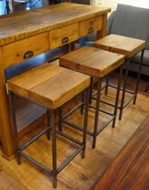 steel frame bar stools with reclaimed timber seats, timber can be stained to customers specifications. 35cm x 35cm x 74cm high. This is our own range, available on a 4-6 week delivery time. more images on the Horace gallery page 120 each - GBP (£)