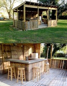 Outdoor bar out of pallets