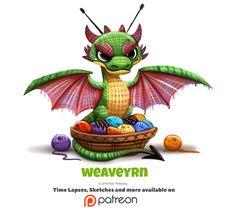 Daily Pineata by Cryptid-Creations on DeviantArt Cute Animal Drawings, Kawaii Drawings, Cute Drawings, Cartoon Art, Cute Cartoon, Chibi, Animal Puns, Dragon Art, Dragon Roll