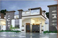 Single Floor House Elevation Design - Home Design House Front Wall Design, Single Floor House Design, Village House Design, Kerala House Design, House Floor, Door Design, Building Elevation, House Elevation, 2bhk House Plan