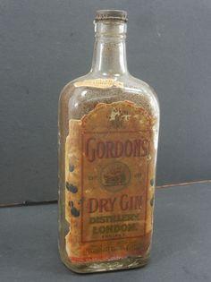 Vintage Gordon's Dry Gin Unique Glass Bottle , London