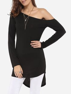 One Shoulder Dacron Plain Long Sleeve T-shirt