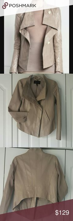 BCBG MaxAzria draped leather jacket Such a fun,  stylish leather jacket.  It is in perfect condition.  Very neutral color.  Perfect for off season. Dove gray with a hint of purple BCBGMaxAzria Jackets & Coats