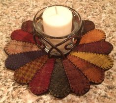 Primitive Wool Penny Rug Votive Candle Mat by MaggysPennies