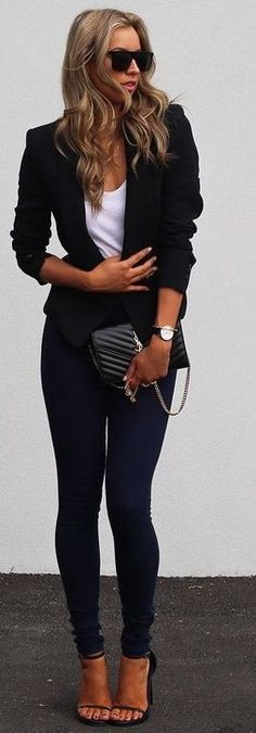 Blazer + White Tee + Denim                                                                             Source