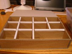Cardboard Component Storage: 7 Steps (with Pictures) Cardboard Organizer, Cardboard Storage, Diy Storage Boxes, Cardboard Playhouse, Cardboard Crafts, Playhouse Furniture, Cardboard Furniture, Cardboard Fireplace, Diy Fireplace