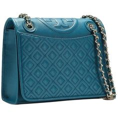 Pre-owned Tory Burch Fleming Medium Shoulder Bag ($370) ❤ liked on Polyvore featuring bags, handbags, shoulder bags, nocturne blue, over the shoulder purse, over the shoulder handbags, evening handbags, chain strap shoulder bag and chain strap crossbody