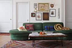 amazing green Foster Sofa via here's looking at me kid