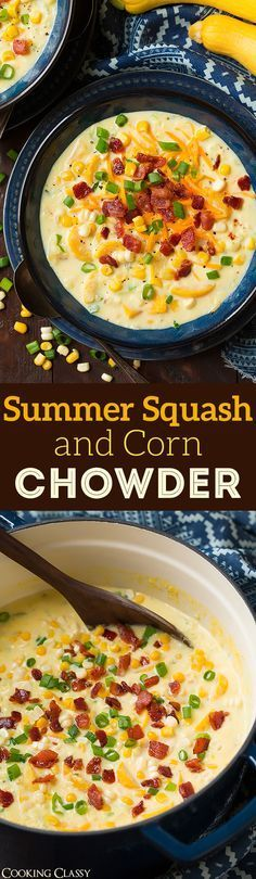 Summer Squash and Corn Chowder - a perfect summer soup!! Love the way the squash and corn pair together and you can't go wrong with cheddar and bacon.
