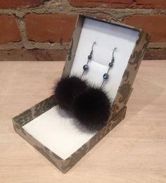 Black Mink Earrings @ elle Vintage US$25