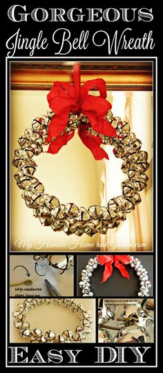 DIY Gorgeous Jingle Bell Wreath!  Easy how-to on MyHumbleHomeandGarden.com