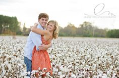 I wish we had cotton fields here.  Beautiful engagement portrait by Lindsey Mills Photography.