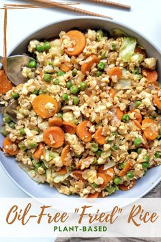 """Want to opt out of oil? Check out this recipe for oil-free """"fried"""" rice made with plant-based ingredients. It's a kid-friendly dinner recipe that's easy to make and fun to eat. #plantbased #vegan #oilfree #healthy #vegetarian #kidfriendly #fallrecipes #dinner #dinnerrecipes #recipes #easy"""