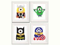 Nursery decor- Minions poster - Minions Superhero - Marvel poster for kids- Set of 4 print 11x17 on Etsy, $39.99