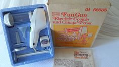 NEW Super Electric Cookie Shooter Press Gun Complete Box Booklet Vintage Sears Ebay Shopping, Can Opener, Booklet, Guns, Electric, Box, Vintage, Weapons Guns, Snare Drum