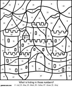 yellow color by number - coloring page - color by number coloring ... - Coloring Pages Number Girls