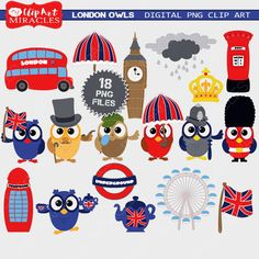 MyPrintableMiracles: London clipart Owls clip art / digital download (4.00 USD)