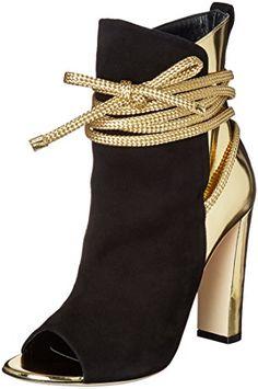 Alejandro Ingelmo Women's Boot, Black/Platino, M US. Alejandro ingelmo fashion high block heels slip-on suede & metal open toe mid calf bootie. Open Toe Booties, Ankle Booties, Bootie Boots, Shoe Boots, Shoes Heels, High Heel Pumps, Cute Shoes, Me Too Shoes, Shoe Art