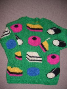 Hand knit  womens sweater liquorice allsorts by TONNERCLIFFE