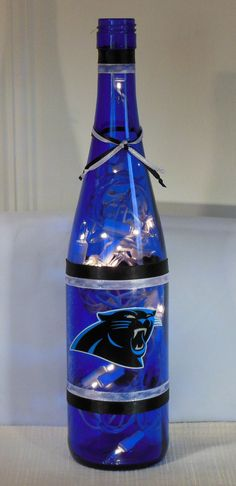 Carolina Panthers NFL Football Wine Bottle Lamp by EcoArtbyNancy, $27.00