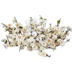 FREE SHIPPING  ++  Various thin stems branch out to reveal small white blooms on this beautiful artificial plum blossom candelabrum. The simple design makes it easy to blend in with any arrangement on a night stand, dresser, or other bedroom furniture.  ++  BUY at DecorateTheSeason.com